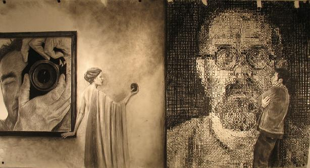 """Life Vs. The Camera""   charcoal on paper  14 feet X 8 feet"